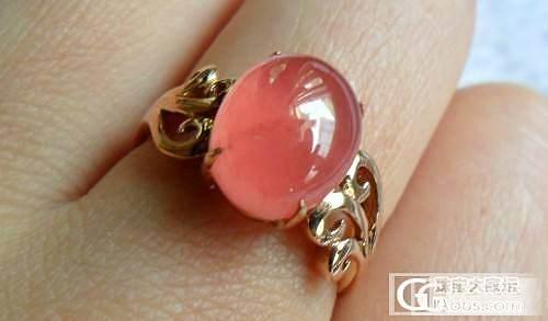 【彩石记】18k玫瑰金镶嵌红纹石椭圆戒指_宝石