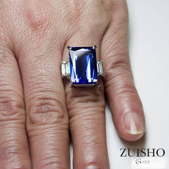 ENZO款3A坦桑石紫蓝色调戒指_戒指坦桑石刻面宝石