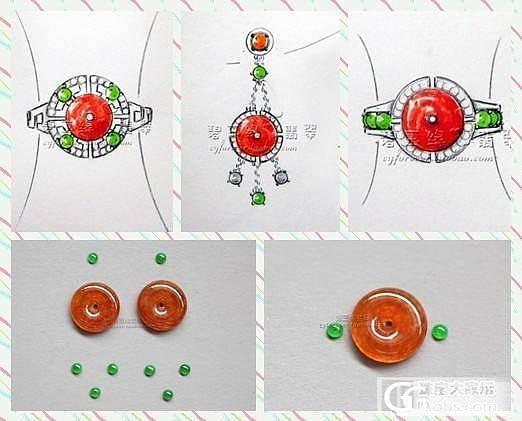 原创设计:一对复古红扣_翡翠