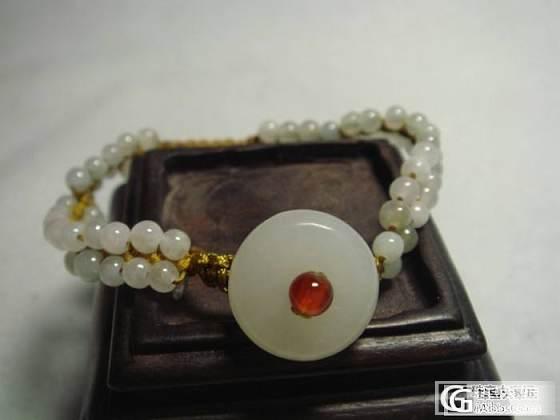 和田白玉平安扣翡翠圆珠编织手链_传统玉石