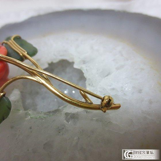 (已定出)18K金天然红珊瑚牡丹花大胸针_有机宝石