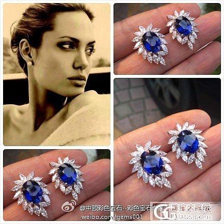 收藏级别的蓝宝石耳钉。 5.04ct。 5.10ct GRS证书皇家蓝蓝宝石耳钉_中颐彩色宝石