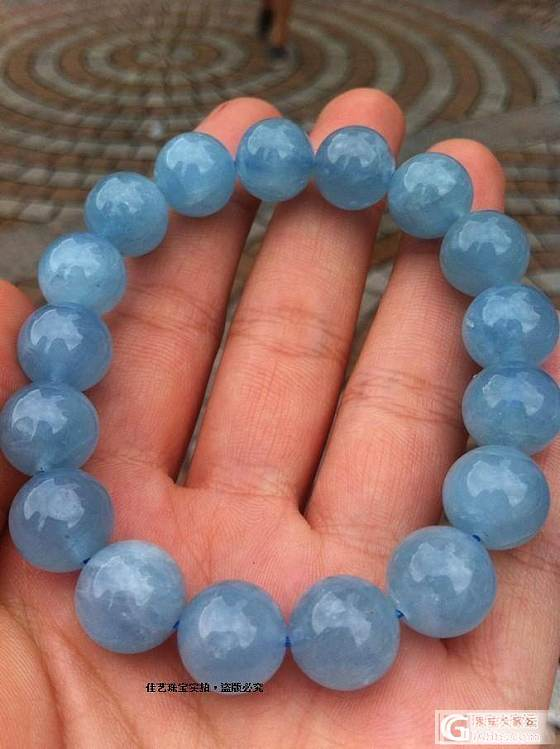 12mm【海蓝宝】手链,【批发价310元】【包邮】哦_宝石