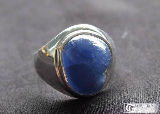【纯天然宝石】明清老宝石 现代加工 白K金镶嵌 蓝宝石戒指 古韵_宝石
