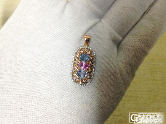 京华雨巷高级珠宝定制,三色尖晶石18K金红白分色镶钻吊坠,层次感质感很好_镶嵌珠宝