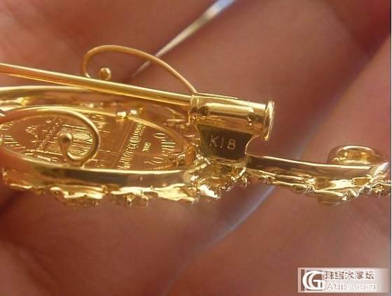 维也纳足金金币 18k玫瑰花缠绕音符 吊坠/胸针两用 日本工_金