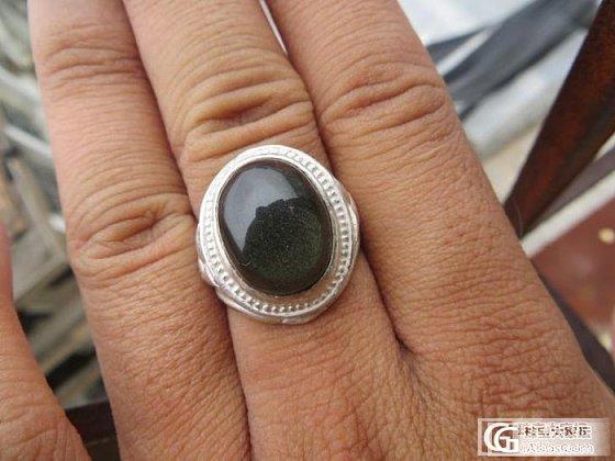 出手两个绿幽灵纯银戒指。_宝石
