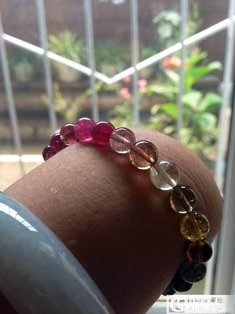 试出闲置近玻璃体碧玺手链,有柠檬黄、蓝碧和玫红碧。_宝石