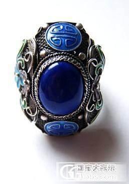 青金石珐琅花丝925纯银戒指_宝石