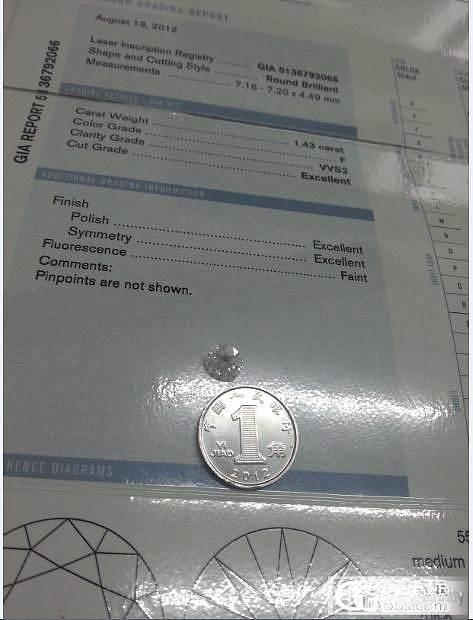 晒晒 1.43 F VVS2 3EX F  GIA货_钻石