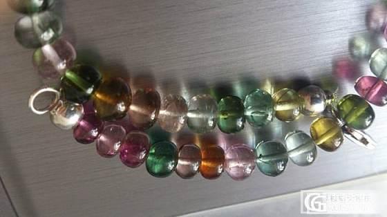 转一串玻璃体无注胶碧玺小胖手链,加几颗暗色单珠。_宝石
