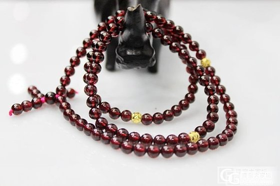 【晒新货】——佛珠style 酒红石榴石108颗配千足金路路通 还能漂亮 有木有?_宝石