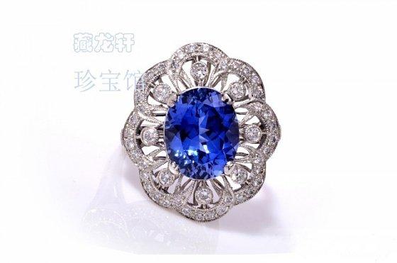 【特惠】豪华镶嵌4.85ct克拉蓝宝石钻石铂金戒指_宝石