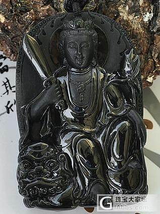 缅甸A货天然墨翠观音挂件 虚空藏菩萨_翡翠