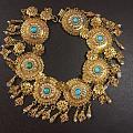 维多利亚时期充满中东风情的古董金手链