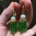 剛剛做的珍珠水晶耳環