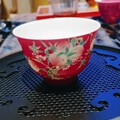 玉泥胭脂红五桃粉彩盖碗