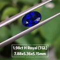1.98ct皇家蓝,颜色纯正浓郁,纯净体火彩也很好,少有的精品,TGL证书